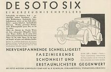 Y4352 Automobile DE SOTO SIX Chrysler - Pubblicità d'epoca - 1929 Old advert