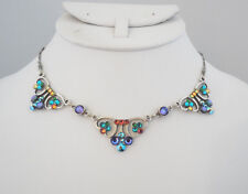 NEW ANNE KOPLIK VINTAGE INSPIRED MULTI COLORED ART DECO STYLE CRYSTAL NECKLACE