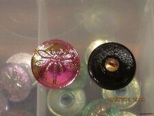 """Czech Glass Iridescent Purple/Green/Gold Dragonfly on Black Button-11/16""""=17.5mm"""