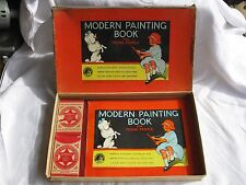 1930's MODERN PAINTING BOOK FOR YOUNG PEOPLE w/ Box & Crayons (Platt & Munk Co.)