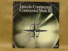 Vintage 1969 Lincoln Continental Mark III Coupe Sedan Limousine Brochure Book