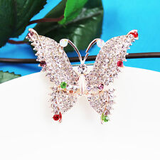 Gold Tone   butterfly  Diamante  Full  Crystal Brooch Scarf clips Women Party