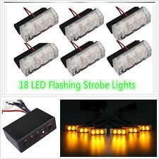 Amber 18 LED Flash Emergency Strobe Grill Light Lamp Flashing Warning