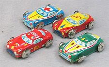 Lot of 4 Vintage Tiny Tin Toy Cars; Ambulance, Fire Chief, Police & Taxi - Japan