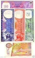 Suriname 5 Banknote Set,Uncirculated, P119, 120, 121, 127 And 128