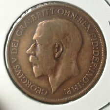 Great Britian KGV 1921  1 penny copper  Coin  very nice details !