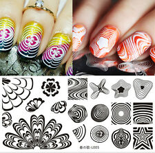BORN PRETTY Rectangle Nail Art Stamping Plate Watermarble Image Template L005