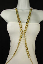 New Women Gold Thick Chunky Metal Body Chain Long Necklace Fashion Jewelry