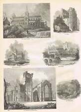 1854 Melrose Abbey Glasgow Cathedral Jedburgh Kelso Engravings