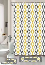 15PC KEENA YELLOW GREY DIAMOND BATHROOM BATH MATS SET RUG CARPET SHOWER CURTAIN