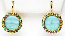 KIRKS FOLLY  PETITE SEAVIEW MOONLIGHT LEVERBACK EARRINGS green seaview moon