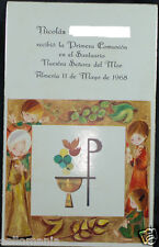 OLD FIRST COMMUNION REMEMBRANCE HOLY CARD YEAR 1968 ANDACHTSBILD SANTINI   C1101