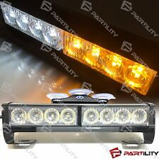 "9.5"" LED White Amber Light Emergency Warning Strobe Flashing Bar Hazard Security"