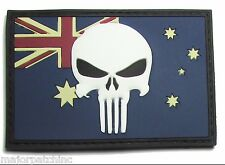 AUSTRALIA GLOW PUNISHER AUSTRALIAN FLAG 3D RUBBER PVC GITD VELCRO® BRAND PATCH