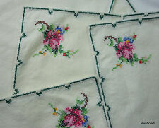 Napkin set 12 Pink Rose Cross Stitch Corner Edge Decor 16x16 Table Linen Vtg