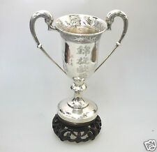 ANTIQUE CHINESE EXPORT SOLID SILVER GOBLET CUP TROPHY CHINA