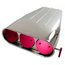 """Polished Aluminum """"Finned"""" Street Scoop for Single or Dual Quad (Round Flaps)"""