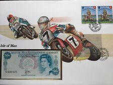 Isle Of Man Fifty Pence Bank Note, 50p Stamp And Note Cover For TT Racing