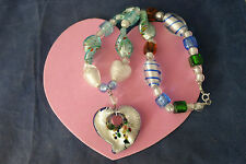 """Beautiful Murano Necklace 16"""" Inches Long + Pendant With Silver Clasps In Box"""