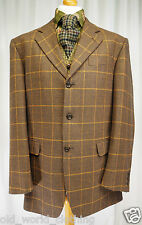 Black Rust Brown Orange Windowpane Wool Tweed Jacket Blazer POINTS MAN UK 42 R