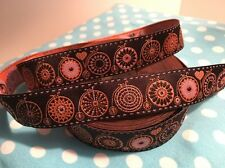 "Jacquard Woven Ribbon Trim ""Bicycle Love"" Brown Pink by Lillestoff on SALE"
