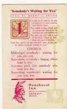 """Penobscot Inn Detroit """"Somebody's Waiting For You"""" Shook Postcard - Item #PC19"""