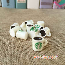 10Pcs Dollhouse Miniature Starbucks Coffee Cups Scale Model White