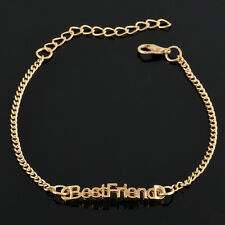 Womens Hot Fashion BEST FRIEND Gold Plated Cute Charm Chain Bracelet