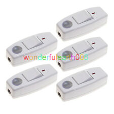5 x Inline ON/OFF Table Lamp Desk Light Cord Switch Max 250V 6A White