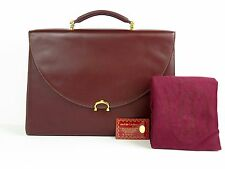 100% Auth Cartier Briefcase Business Bag Burgundy W/ Dust Bug & Cartier Card