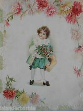 "Vintage Embossed 6 1/2"" x 8 1/2"" Paper Art Victorian Child Surrounded by Flowers"