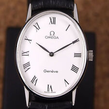 Authentic Omega Geneve White Dial Stainless Steel Manual Winding Mens Watch