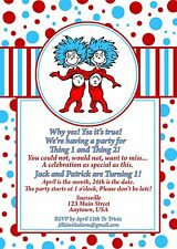 Dr Seuss Birthday Invitation, Invitations, Thing 1 and thing 2, Birthday