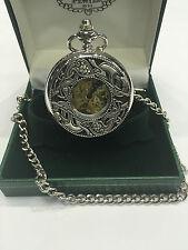 Finest Grade Mullingar Pewter Celtic Design Half Hunter Pocket Watch New In Box