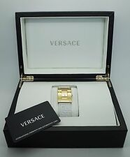 Gianni Versace Couture Gold Dial White Leather Womens Slim Watch NEW $1,995