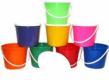 8  Beach Sand Plastic Buckets Lids Pails Mix of Colors Mfg.USA Lead Free Durable
