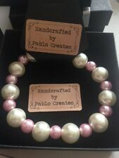 Faux Pearl and Pink Bracelet, Cream, Pink, Imitation Glass Pearl Beads