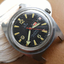 Vintage Elgin Day-Date Diver w/All SS Case,Warm Patina,Missing Bezel FOR REPAIR