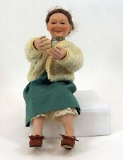 1995 Ashton Drake Grandma Doll Porcelain Head Hands Feet Blue Glass Eyes Sweater