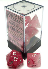 Chessex Dice: Ghostly Glow Poly Pink/Silver (7) CHX 27524