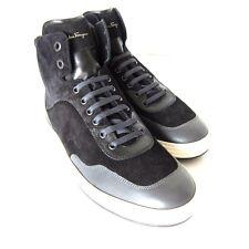 S-1045250 New Salvatore Ferragamo Palestro Black w/Gray HiTop Shoes Size US-10D