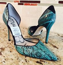 New Sam Edelman Delilah Snake Green Turquoise Leather Pointy Toe Pumps Heels 6.5