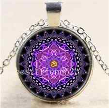 Mandala OM Photo Cabochon Glass Tibet Silver Chain Pendant  Necklace