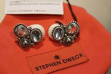 Stephen Dweck Grey Mop/Crystal Quartz/Grey Pearls/Sterling Silver Earrings New
