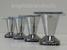 4x CHROME FURNITURE LEGS, METAL FEET 50mm SOFAS, BEDS, CHAIR, CABINETS SELF FIX