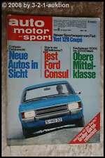 AMS Auto Motor Sport 8/72 * Ford Consul Fiat 128 Coupe Autobianchi A 112