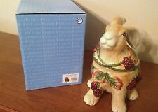 FITZ AND FLOYD BLACKBERRY RABBIT BUNNY FLAT FOOT COOKIE/CANDY JAR NEW IN BOX