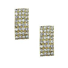Diamante gold tone stud post earrings sparkly bling prom party wedding 0339-P