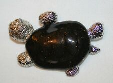 Handsome Deep Maroon Starlight Speckled Turtle Tortoise Silvertone Brooch Pin