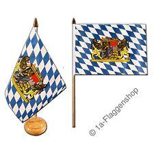 Tischflagge DEUTSCHLAND BAYERN MIT LöWE bayerische Tischfahne 15x22cm